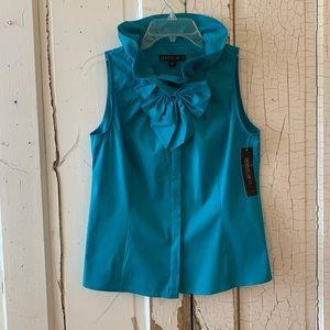 Lafayette 148 turquoise ruffled blouse Size 4 NWT
